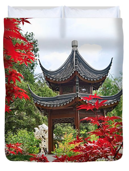 Red - Chinese Garden With Pagoda And Lake. Duvet Cover
