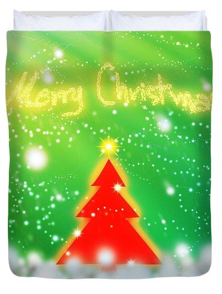 Red Christmas Tree Duvet Cover by Atiketta Sangasaeng