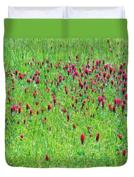 Red Clover Field Duvet Cover by Deborah  Crew-Johnson