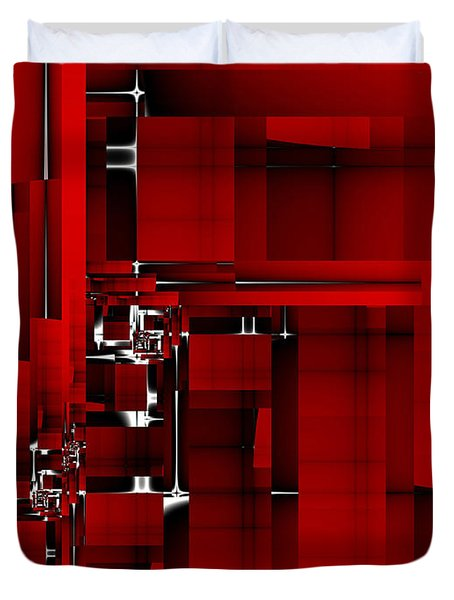 Red Construction I Duvet Cover by Richard Ortolano