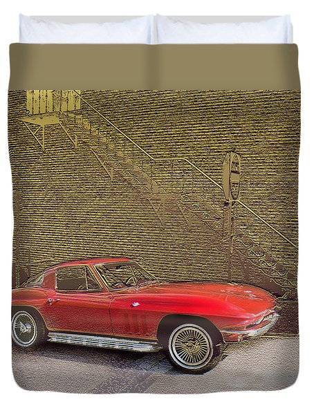 Red Corvette Duvet Cover