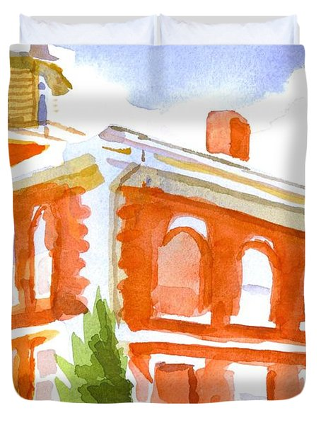 Red Courthouse With Evergreen Duvet Cover