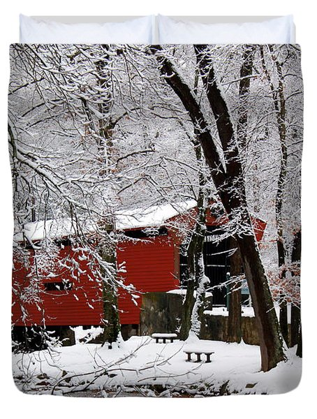Red Covered Bridge Winter 2013 Duvet Cover