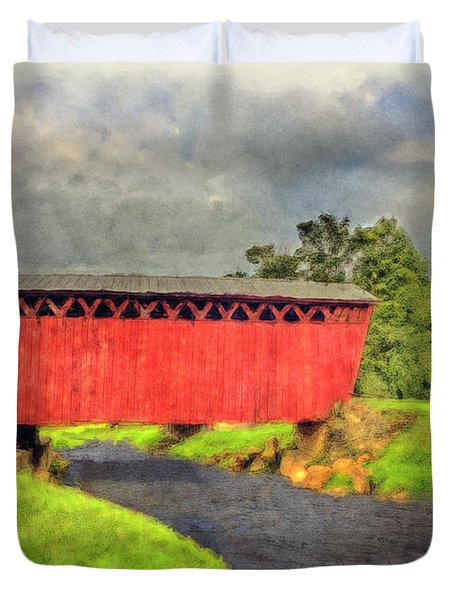 Red Covered Bridge With Car Duvet Cover by Dan Friend
