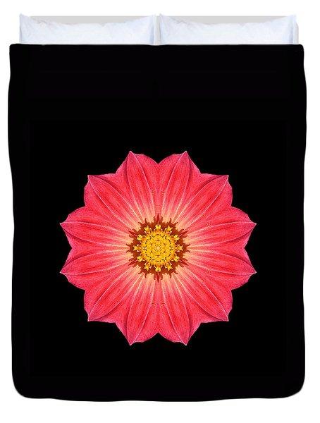 Red Dahlia Hybrid I Flower Mandala Duvet Cover by David J Bookbinder