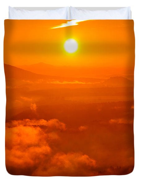 Red Dawn On The Lilienstein Duvet Cover
