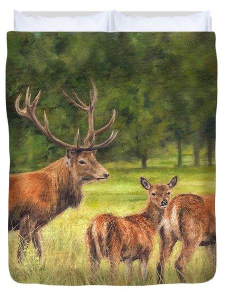 Red Deer Family Duvet Cover