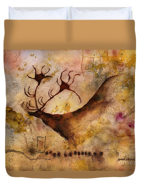 Duvet Cover featuring the painting Red Deer by Hailey E Herrera