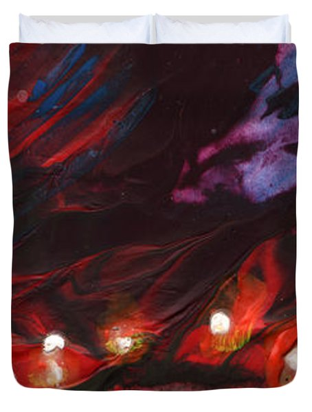 Red Demon With Pearls Duvet Cover by Miki De Goodaboom