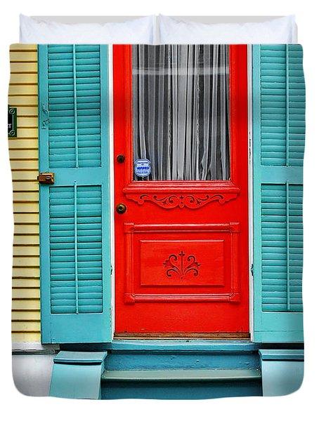 Red Door In New Orleans Duvet Cover