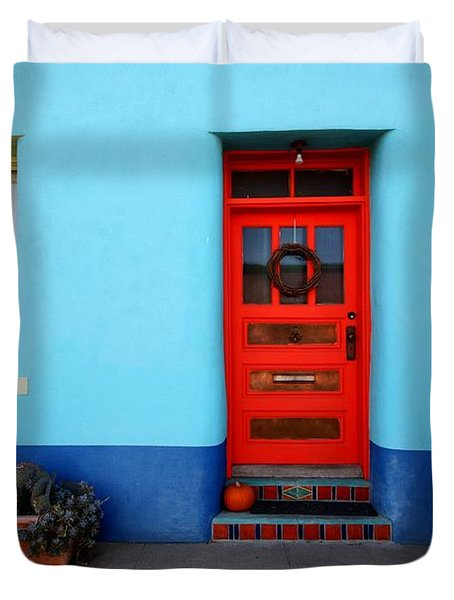 Red Door On Blue Wall Duvet Cover