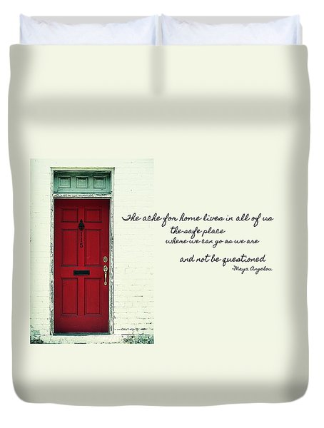 Red Door Quote Duvet Cover