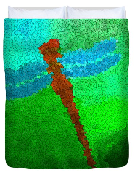 Duvet Cover featuring the digital art Red Dragonfly by Anita Lewis