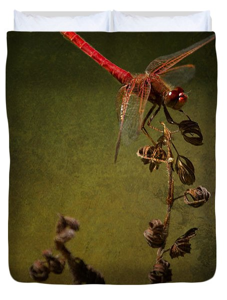 Red Dragonfly On A Dead Plant Duvet Cover