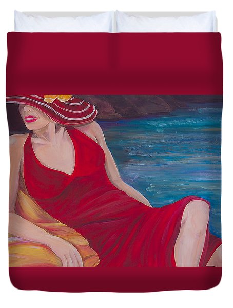 Red Dress Reclining Duvet Cover