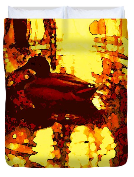 Red Duck Lake 6 Duvet Cover by Amy Vangsgard