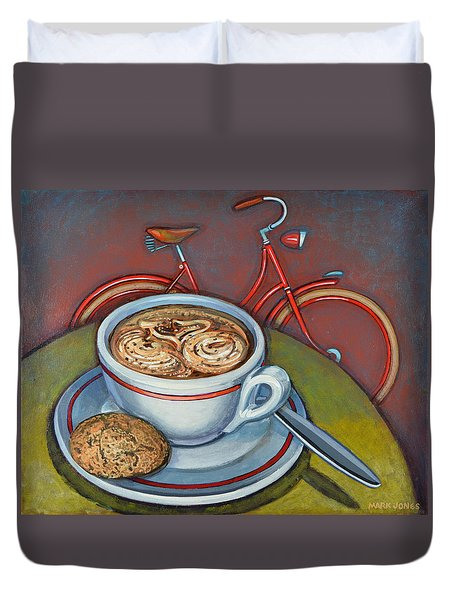 Red Dutch Bicycle With Cappuccino And Amaretti Duvet Cover by Mark Jones