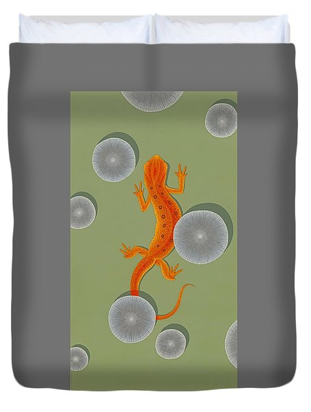 Red Eft Newt Duvet Cover by Nathan Marcy