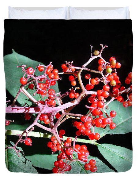 Duvet Cover featuring the photograph Red Elderberry by Cheryl Hoyle