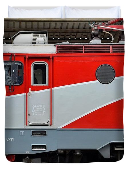 Duvet Cover featuring the photograph Red Electric Train Locomotive Bucharest Romania by Imran Ahmed