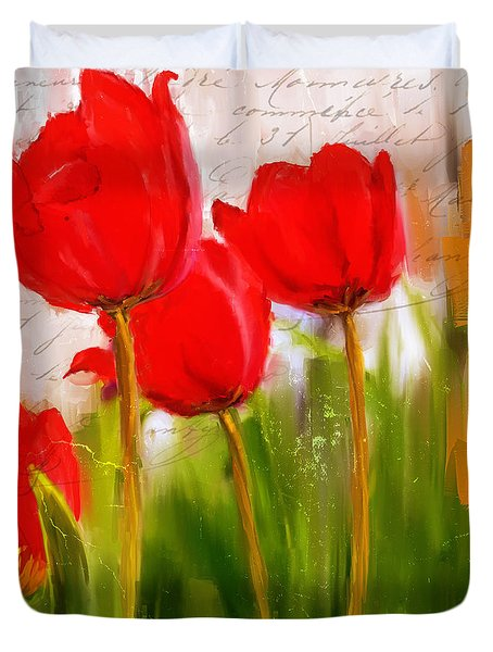 Red Enigma- Red Tulips Paintings Duvet Cover by Lourry Legarde