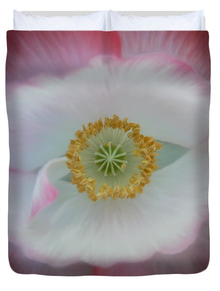 Duvet Cover featuring the photograph Red Eye Poppy by Barbara St Jean