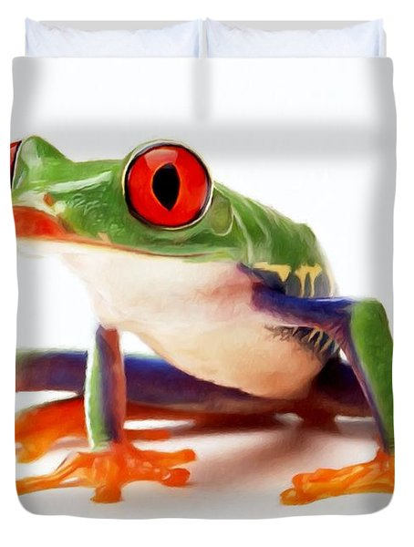 Red-eye Tree Frog 1 Duvet Cover by Lanjee Chee