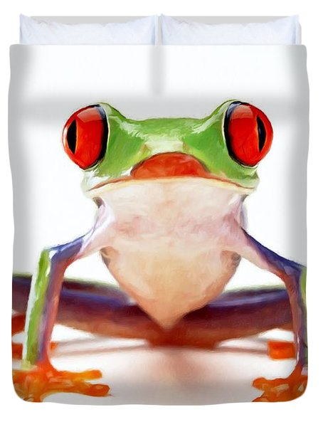 Red-eye Tree Frog 2 Duvet Cover by Lanjee Chee