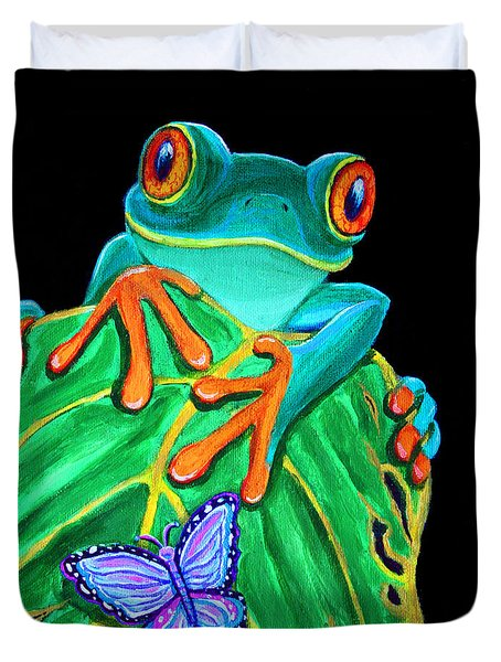 Red-eyed Tree Frog And Butterfly Duvet Cover by Nick Gustafson