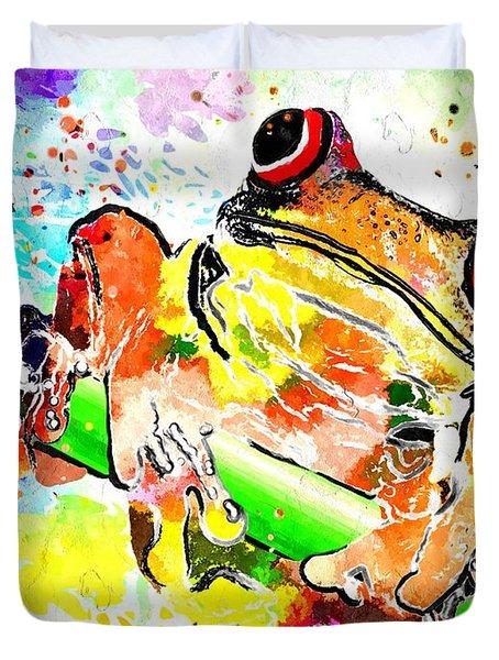Red Eyed Tree Frog Grunge Duvet Cover by Daniel Janda