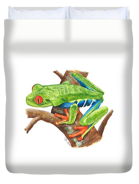 Red-eyed Treefrog Duvet Cover by Cindy Hitchcock