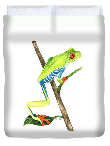 Red-eyed Treefrog From La Selva Duvet Cover by Cindy Hitchcock
