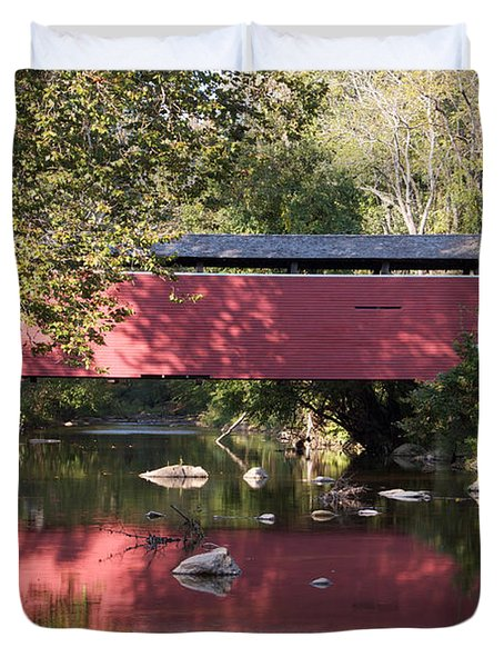 Red Fairhill Covered Bridge Two Duvet Cover