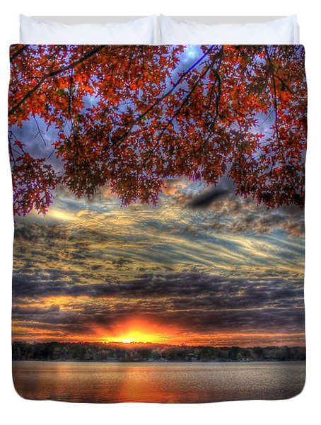 Good Bye Until Tomorrow Fall Leaves Sunset Lake Oconee Georgia Duvet Cover