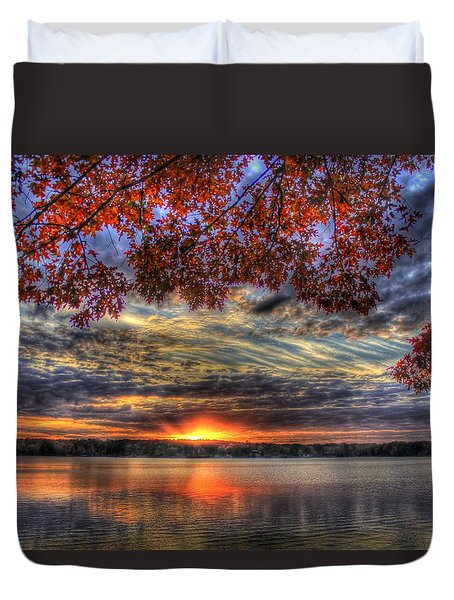 Good Bye Until Tomorrow Fall Leaves Sunset Lake Oconee Georgia Duvet Cover