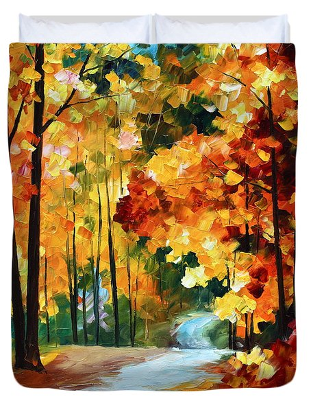 Red Fall Duvet Cover by Leonid Afremov