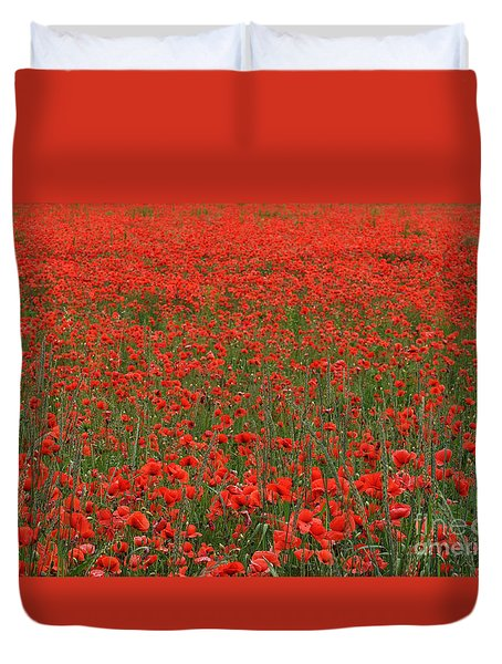 Duvet Cover featuring the photograph Red Field by Simona Ghidini