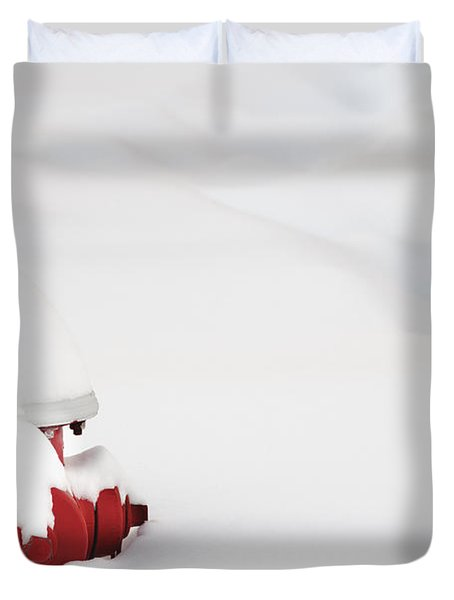 Red Fired Hydrant Buried In The Snow. Duvet Cover by Oscar Gutierrez
