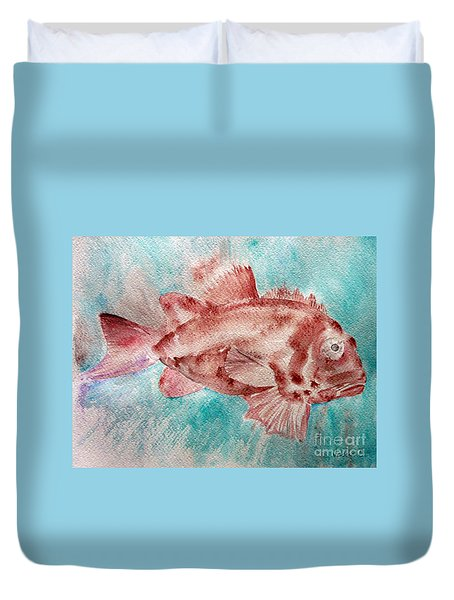 Red Fish Duvet Cover by Jasna Dragun