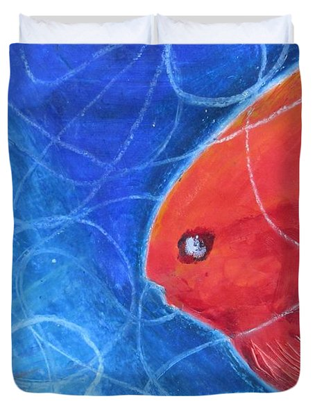 Red Fish Duvet Cover