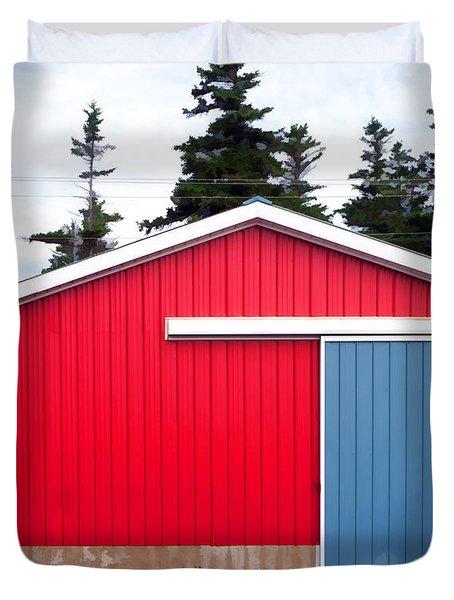 Red Fishing Shack Pei Duvet Cover by Edward Fielding