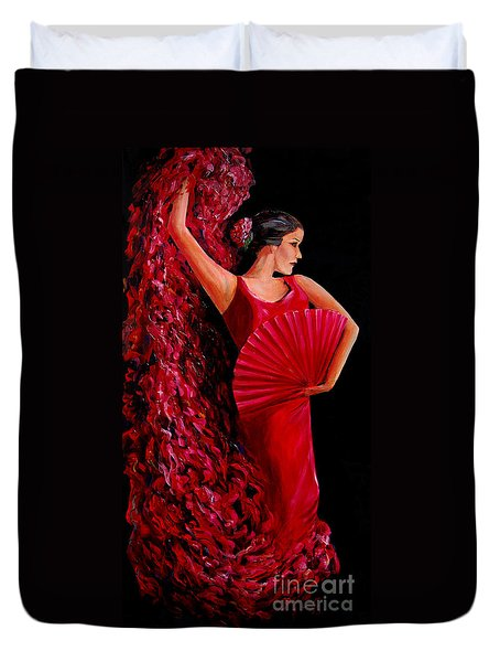 Red Flamenco Dancer Duvet Cover