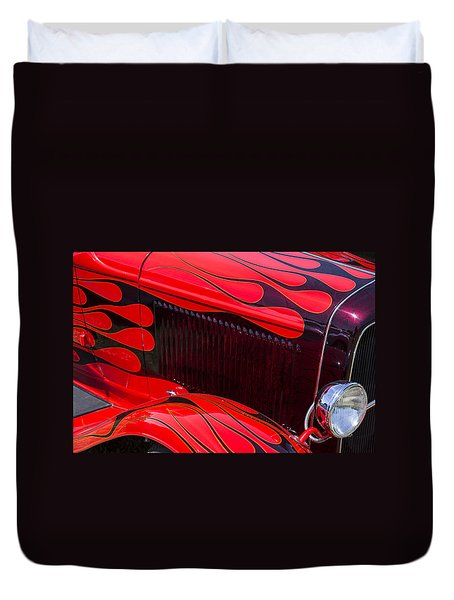 Red Flames Hot Rod Duvet Cover by Garry Gay