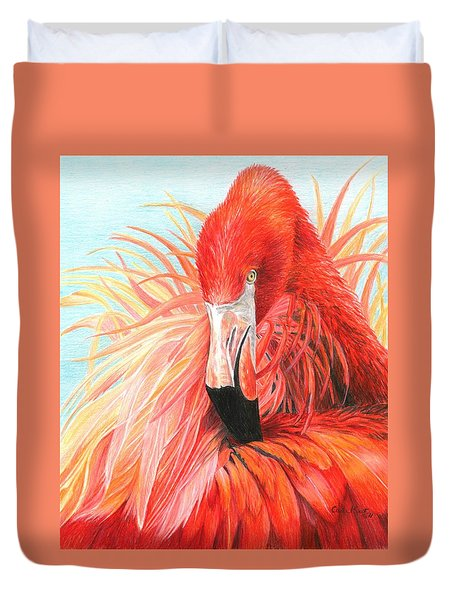 Red Flamingo Duvet Cover