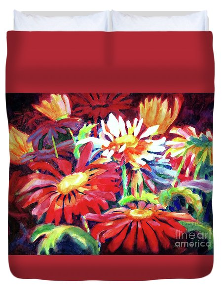 Red Floral Mishmash Duvet Cover by Kathy Braud