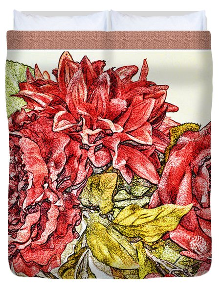 Red Floral Photoart Duvet Cover by Debbie Portwood