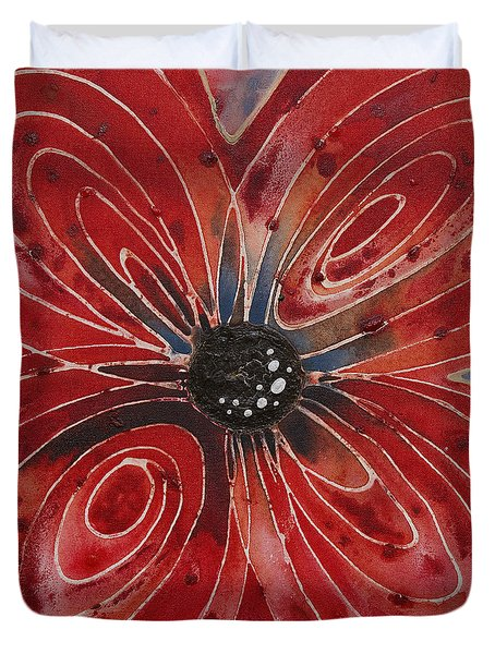 Red Flower 2 - Vibrant Red Floral Art Duvet Cover by Sharon Cummings