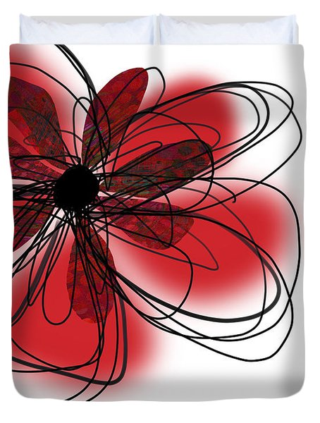 Red Flower Collage Duvet Cover