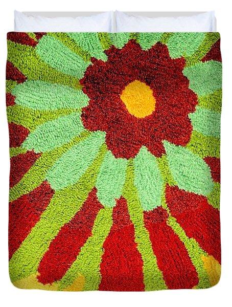 Red Flower Rug Duvet Cover by Janette Boyd