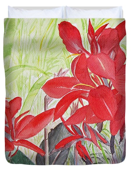 Duvet Cover featuring the painting Red Flowers by Carol Flagg